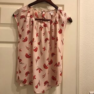 LC Lauren Conrad pleat top floral red and peach.